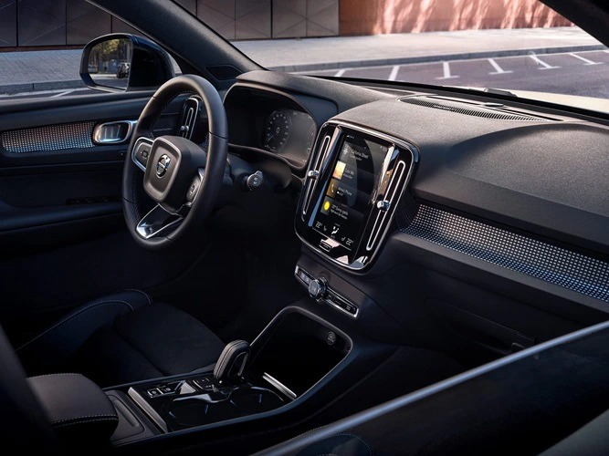 Inside a Volvo XC40 with black interior.