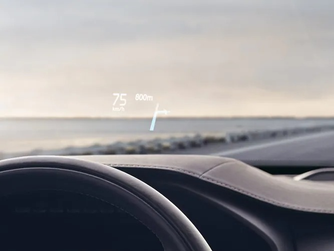 Inside a Volvo XC90 Recharge, driving speed is displayed on the windshield